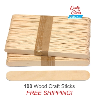 100 Natural 6 Inch Jumbo Wooden Craft Popsicle Sticks