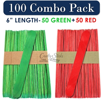 50 Red and 50 Green 6 Inch Jumbo Wood Craft Sticks, Christmas Combo Pack