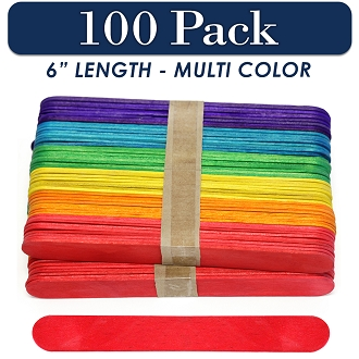100 Multi Color 6 Inch Jumbo Wooden Craft Popsicle Sticks