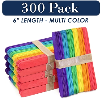 300 Multi Color 6 Inch Jumbo Wooden Craft Popsicle Sticks