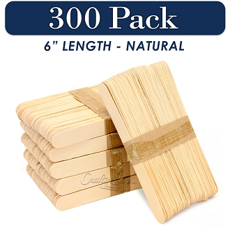 300 Natural 6 Inch Jumbo Wooden Craft Popsicle Sticks