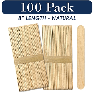 100 Natural 8 Inch Super Jumbo Wooden Craft Popsicle Sticks