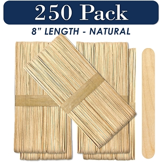 250 Natural 8 Inch Super Jumbo Wooden Craft Popsicle Sticks
