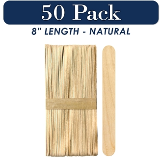 50 Natural 8 Inch Super Jumbo Wooden Craft Popsicle Sticks
