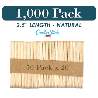 1000 Natural 2.5 Inch Mini Wooden Craft Popsicle Sticks