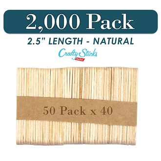 2000 Natural 2.5 Inch Mini Wooden Craft Popsicle Sticks