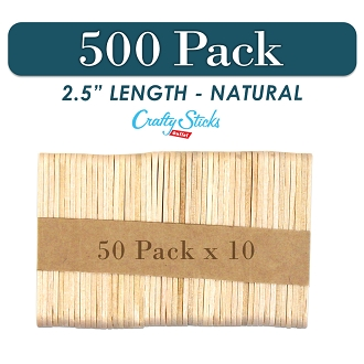 500 Natural 2.5 Inch Mini Wooden Craft Popsicle Sticks