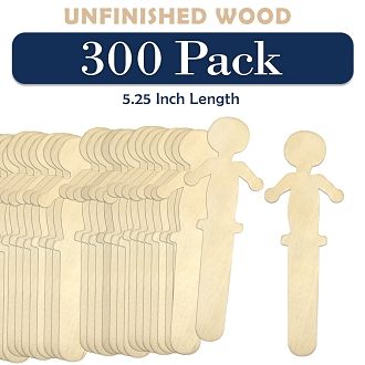 300 Wooden People Shaped Craft Sticks 5.25 Inch