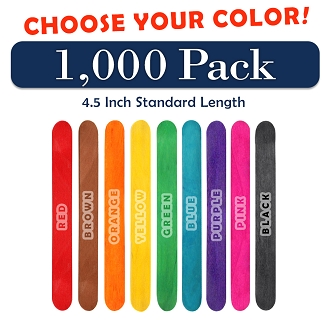1000 Pack 4.5 Inch Craft Popsicle Sticks  -Choose Your Color