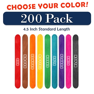 200 Pack 4.5 Inch Craft Popsicle Sticks  -Choose Your Color