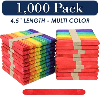Wood Craft Sticks Multi Color 4.5 Inch -1000 Pack