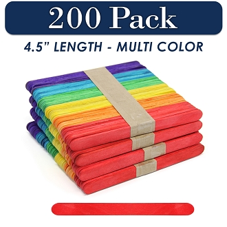 Wood Craft Sticks Multi Color 4.5 Inch -200 Pack