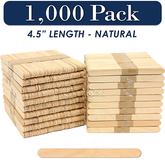 Wood Craft Sticks Natural Color 4.5 Inch -1000 Pack