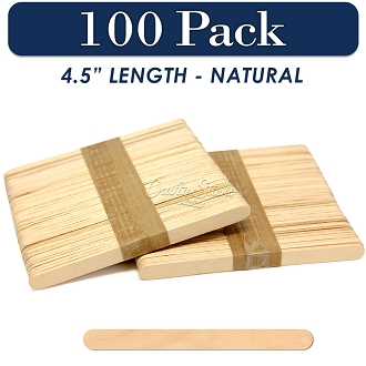 Wood Craft Sticks Natural Color 4.5 Inch -100 Pack