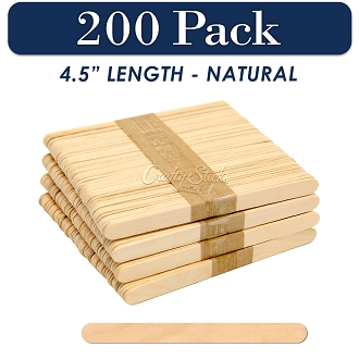 Wood Craft Sticks Natural Color 4.5 Inch -200 Pack