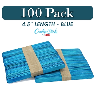 Wood Craft Sticks Blue Color 4.5 Inch -100 Pack