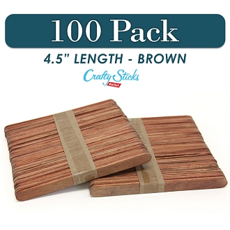 Wood Craft Sticks Brown Color 4.5 Inch -100 Pack