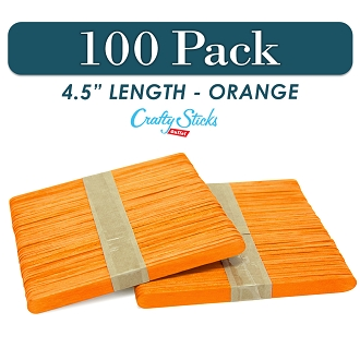 Wood Craft Sticks Orange Color 4.5 Inch -100 Pack
