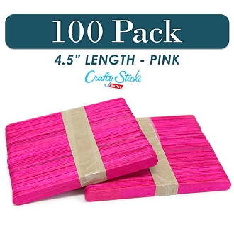 Wood Craft Sticks Pink Color 4.5 Inch -100 Pack