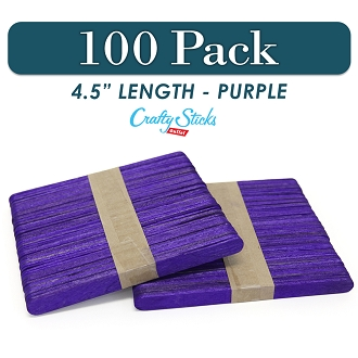 Wood Craft Sticks Purple Color 4.5 Inch -100 Pack