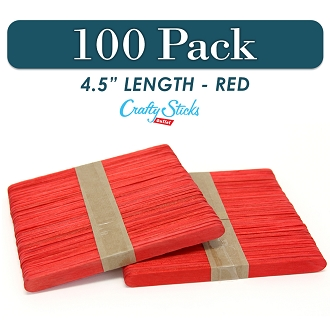 100 Red 4.5 Inch Wooden Craft Popsicle Sticks
