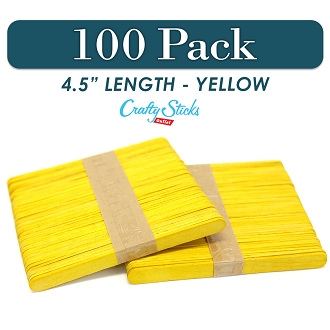 Wood Craft Sticks Yellow Color 4.5 Inch -100 Pack