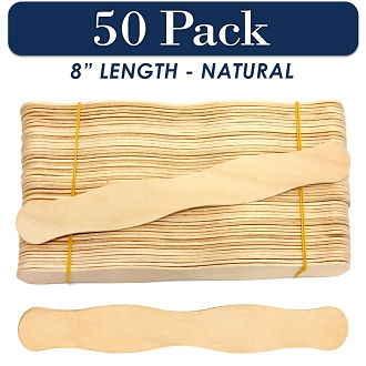 50 Natural 8 Inch Wavy Wood Fan Handle Craft Sticks