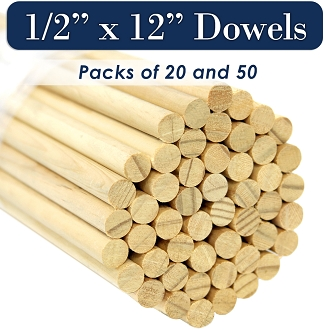 Round Wooden Dowels, 1/2 x 12 Inch, Natural Pine, MADE IN THE USA