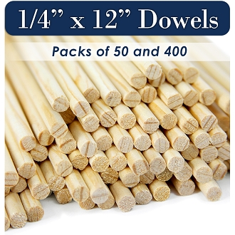 Round Wooden Dowels, 1/4 x 12 Inch, Natural Pine, MADE IN THE USA