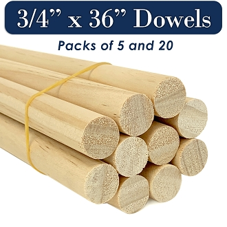 Round Wooden Dowels, 3/4 x 36 Inch, Natural Pine, MADE IN THE USA