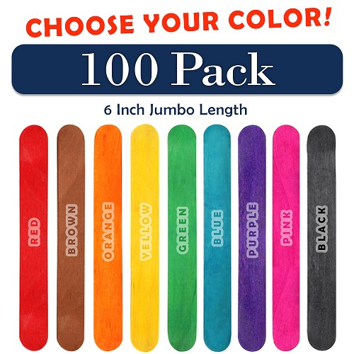 100 Pack 6 Inch Jumbo Craft Popsicle Sticks -Choose Your Color
