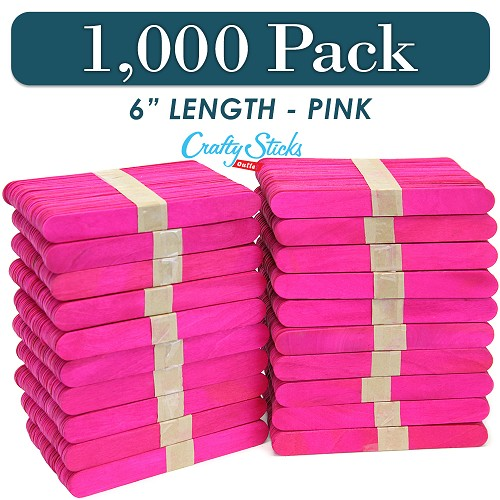1000 Pink 6 Inch Jumbo Wooden Craft Popsicle Sticks