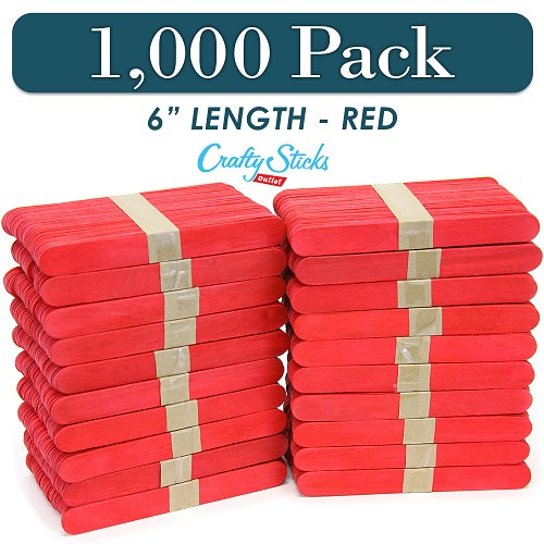 1000 Red 6 Inch Jumbo Wooden Craft Popsicle Sticks