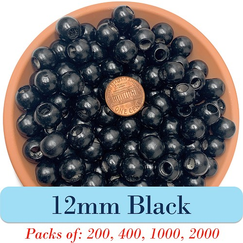 Round Wooden Beads 12mm, 5mm Opening, Matte Finish, Black