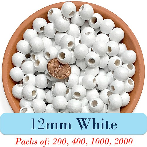 Round Wooden Beads 12mm, 5mm Opening, Matte Finish, White