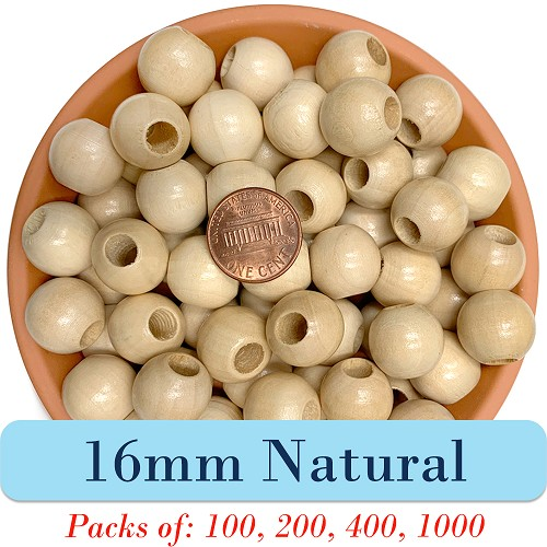 Round Wooden Beads 16mm, 5mm Opening, Matte Finish, Natural Wood