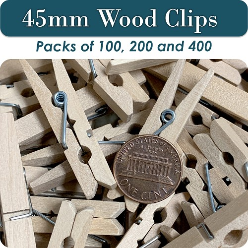 Clothes Pin Small Wood Clips, 45mm