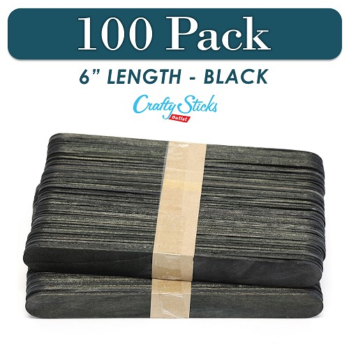 100 Black 6 Inch Jumbo Wooden Craft Popsicle Sticks