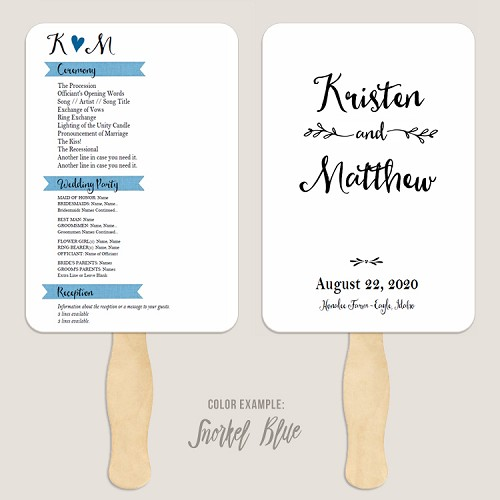 Simple Banner Wedding Program Fan Template Automatic PDF Download -Cool Colors