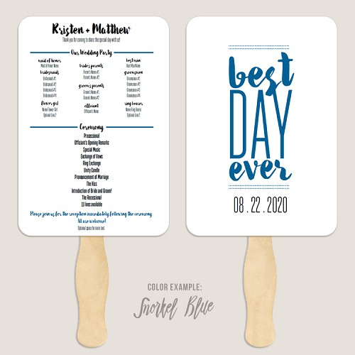 Best Day Ever 2 Wedding Program Fan Template Automatic PDF Download -Cool Colors
