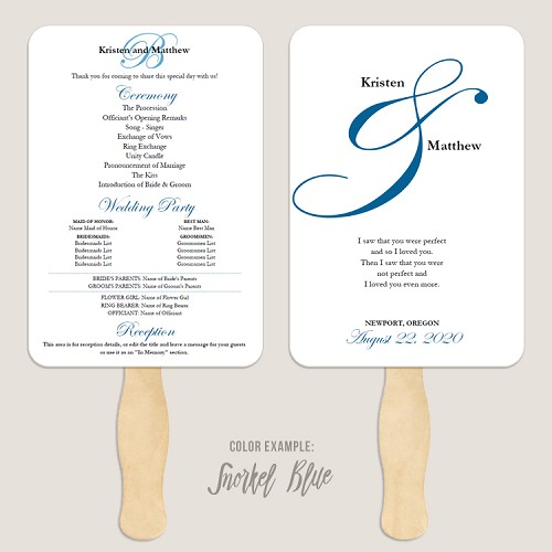 Elegant Ampersand Wedding Program Fan Template Automatic PDF Download -Cool Colors