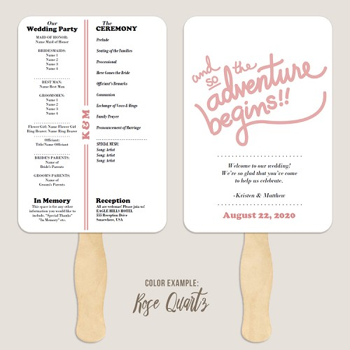 The Adventure Begins Retro Wedding Program Fan Template Automatic PDF Download -Warm Colors