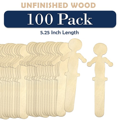100 Wooden People Shaped Craft Sticks 5.25 Inch