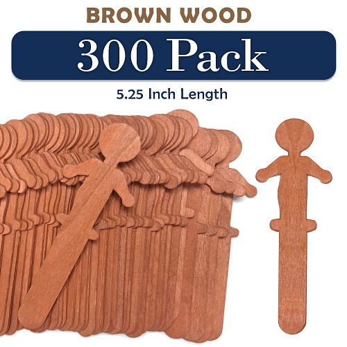 300 Brown Color People Shaped Craft Sticks 5.25 Inch