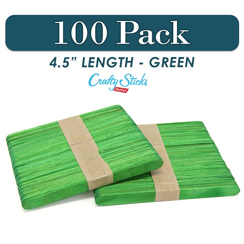100 Green 4.5 Inch Wooden Craft Popsicle Sticks