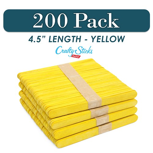 200 Yellow 4.5 Inch Wooden Craft Popsicle Sticks