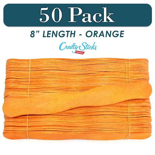 50 Orange 8 Inch Wavy Wood Fan Handle Craft Sticks
