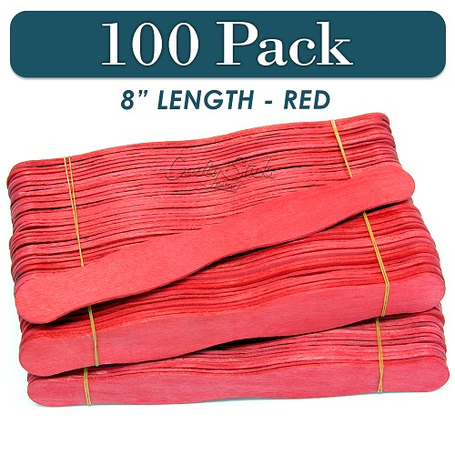 100 Red 8 Inch Wavy Wood Fan Handle Craft Sticks