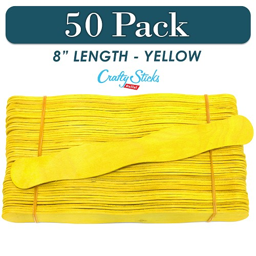 50 Yellow 8 Inch Wavy Wood Fan Handle Craft Sticks