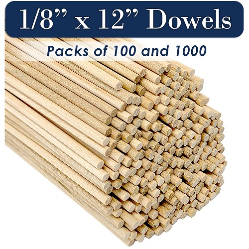 Round Wooden Dowels, 1/8 x 12 Inch, Natural Pine, MADE IN THE USA